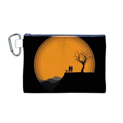 Couple Dog View Clouds Tree Cliff Canvas Cosmetic Bag (m)