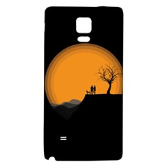 Couple Dog View Clouds Tree Cliff Galaxy Note 4 Back Case