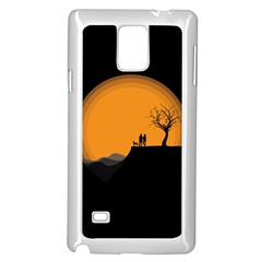 Couple Dog View Clouds Tree Cliff Samsung Galaxy Note 4 Case (white)