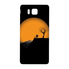 Couple Dog View Clouds Tree Cliff Samsung Galaxy Alpha Hardshell Back Case