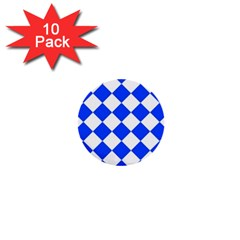 Blue White Diamonds Seamless 1  Mini Buttons (10 Pack)