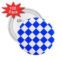 Blue White Diamonds Seamless 2 25  Buttons (100 Pack)