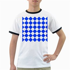 Blue White Diamonds Seamless Ringer T Shirts