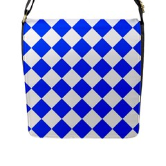 Blue White Diamonds Seamless Flap Messenger Bag (l)