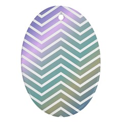 Zigzag Line Pattern Zig Zag Oval Ornament (two Sides)