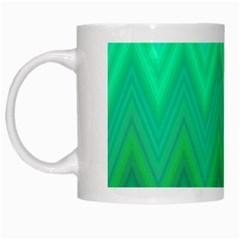 Green Zig Zag Chevron Classic Pattern White Mugs