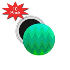 Green Zig Zag Chevron Classic Pattern 1 75  Magnets (10 Pack)