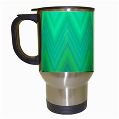 Green Zig Zag Chevron Classic Pattern Travel Mugs (white)