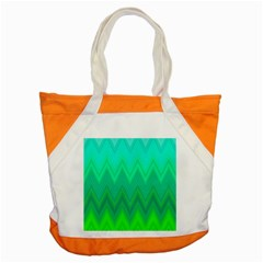 Green Zig Zag Chevron Classic Pattern Accent Tote Bag