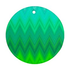 Green Zig Zag Chevron Classic Pattern Round Ornament (two Sides)