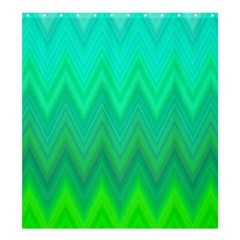 Green Zig Zag Chevron Classic Pattern Shower Curtain 66  X 72  (large)