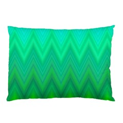 Green Zig Zag Chevron Classic Pattern Pillow Case (two Sides)