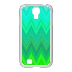Green Zig Zag Chevron Classic Pattern Samsung Galaxy S4 I9500/ I9505 Case (white)