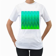 Green Zig Zag Chevron Classic Pattern Women s T Shirt (white)