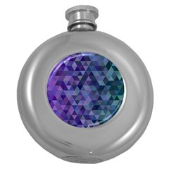 Triangle Tile Mosaic Pattern Round Hip Flask (5 Oz)