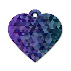 Triangle Tile Mosaic Pattern Dog Tag Heart (one Side)