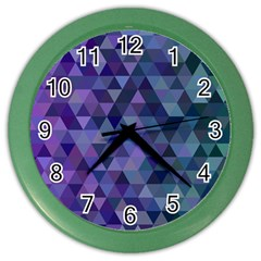 Triangle Tile Mosaic Pattern Color Wall Clocks