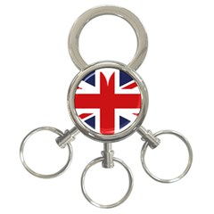 Uk Flag United Kingdom 3 Ring Key Chains
