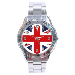 Uk Flag United Kingdom Stainless Steel Analogue Watch