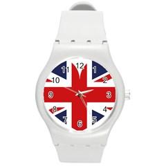 Uk Flag United Kingdom Round Plastic Sport Watch (m)