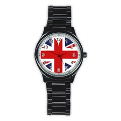 Uk Flag United Kingdom Stainless Steel Round Watch