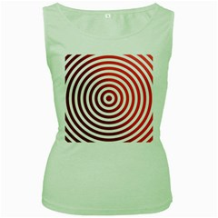 Concentric Red Rings Background Women s Green Tank Top