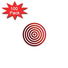 Concentric Red Rings Background 1  Mini Buttons (100 Pack)