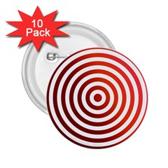 Concentric Red Rings Background 2 25  Buttons (10 Pack)