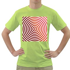 Concentric Red Rings Background Green T Shirt