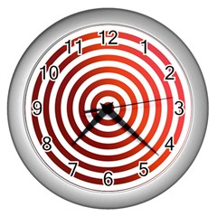 Concentric Red Rings Background Wall Clocks (silver)