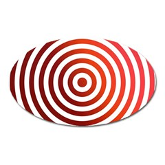 Concentric Red Rings Background Oval Magnet