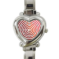 Concentric Red Rings Background Heart Italian Charm Watch