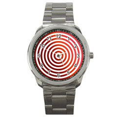 Concentric Red Rings Background Sport Metal Watch