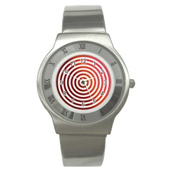 Concentric Red Rings Background Stainless Steel Watch