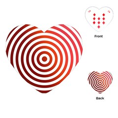 Concentric Red Rings Background Playing Cards (heart)