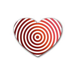 Concentric Red Rings Background Rubber Coaster (heart)
