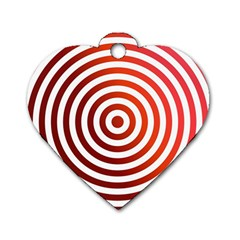 Concentric Red Rings Background Dog Tag Heart (one Side)