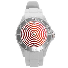 Concentric Red Rings Background Round Plastic Sport Watch (l)