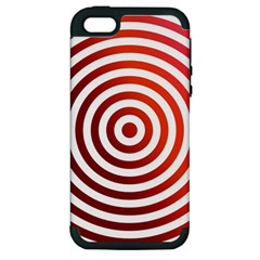 Concentric Red Rings Background Apple Iphone 5 Hardshell Case (pc+silicone)