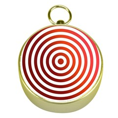 Concentric Red Rings Background Gold Compasses