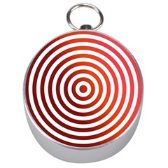 Concentric Red Rings Background Silver Compasses