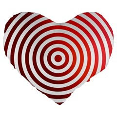 Concentric Red Rings Background Large 19  Premium Flano Heart Shape Cushions