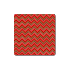 Background Retro Red Zigzag Square Magnet
