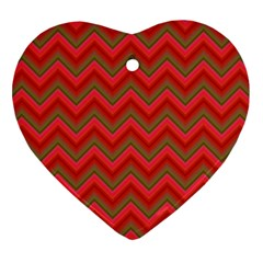 Background Retro Red Zigzag Heart Ornament (two Sides)