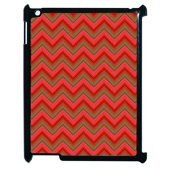 Background Retro Red Zigzag Apple Ipad 2 Case (black)
