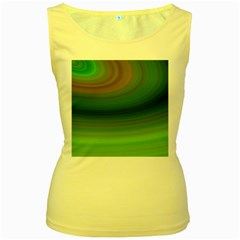 Green Background Elliptical Women s Yellow Tank Top