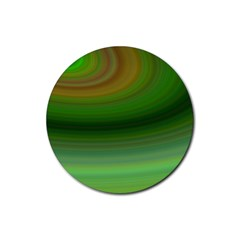 Green Background Elliptical Rubber Round Coaster (4 Pack)