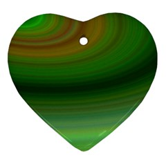 Green Background Elliptical Heart Ornament (two Sides)