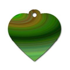 Green Background Elliptical Dog Tag Heart (one Side)