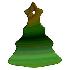 Green Background Elliptical Christmas Tree Ornament (two Sides)
